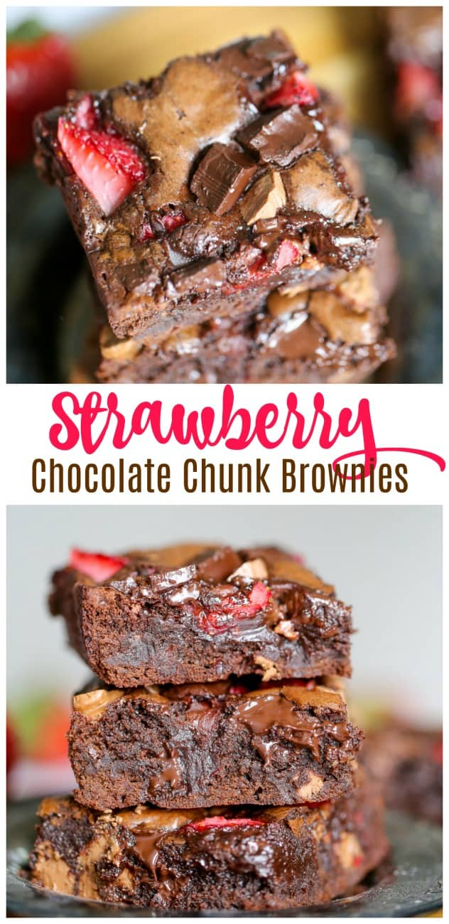 Strawberry Chocolate Chunk Brownies - These are sinful.Absolute chocolate heaven.  The sweet and tart strawberries play nicely with the decadent milk and dark chocolate chunks in gooey fudgy, chewy brownies.