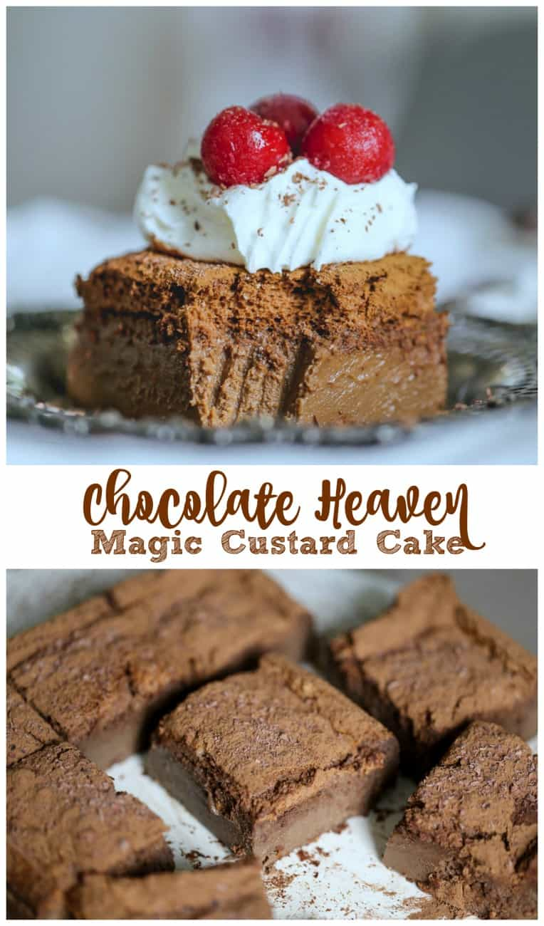 Chocolate Heaven Magic Custard Cake: The top layer is a soft cake like an eclair or angel cake texture, followed by a creamy custard layer that sits on a firm gelatin-like layer.  Top it with a dusting of unsweetened cocoa powder and dark chocolate shavings makes this the most decadent chocolate custard dessert ever!  #decadent #chocolate #cocoa #chocoholics #custard #pudding #cake #magic #baking #nielsenmassey #ghirardelli