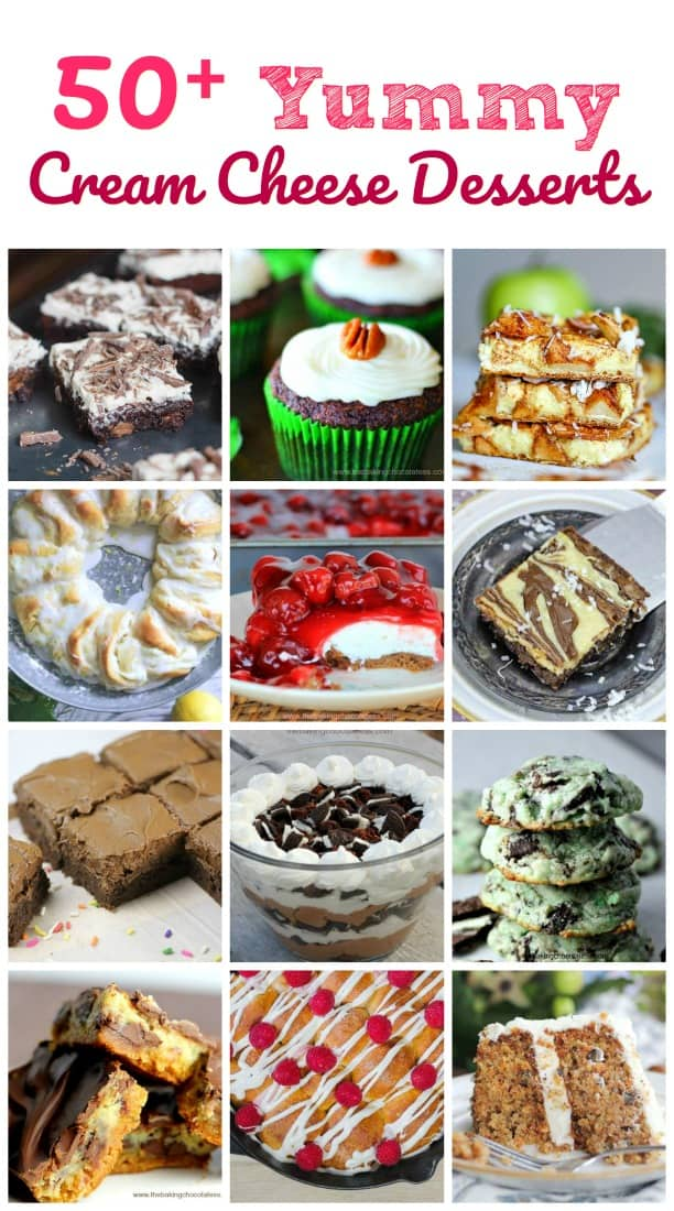 50+ Yummy Cream Cheese Desserts -- Because Who Doesn't Love Cream Cheese in Dessert?  #cream cheese #round up #desserts #yummy