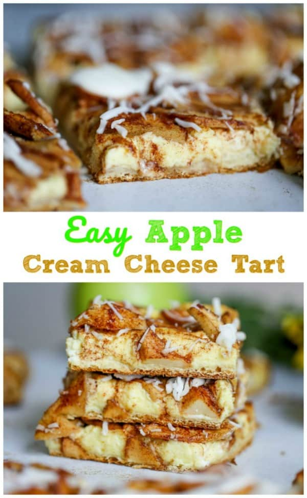 Easy Apple Cream Cheese Tart - This stunningApple Cream Cheese Tart proudly touts a buttery, flaky pastry crust filled with a tempting, delectable layer of luscious cream cheese filling. Then it's topped with a layer of thinly sliced cinnamon sugary Granny Smith apples and is baked to a lovely golden brown.  But wait...Then it's drizzled with a simple old-fashioned glaze. OH MY!  Heart be still!