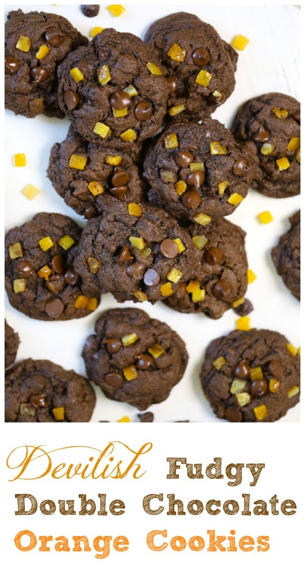 Devilish Fudgy Double Chocolate Orange Cookies - There's something really special and epic when dark chocolate and orange come together, especially when you bite into these tempting soft, thick and fudgy double chocolate chip cookies studded with sweetened candied orange peel. They're SO devilishly tempting, you won't be able to stop at just one cookie.#orange #chocolate #chocolate chip #orange peel #holiday baking #cookies #fudgy #dark chocolate #chip
