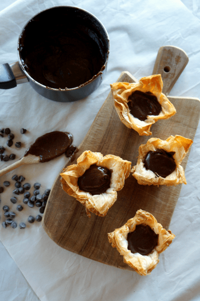 dark chocolate custard phyllo cups