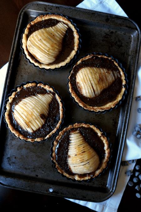 chocolate pear tarts | The Baking Fairy