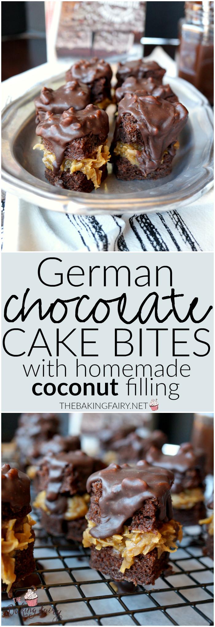 german chocolate cake bites | The Baking Fairy