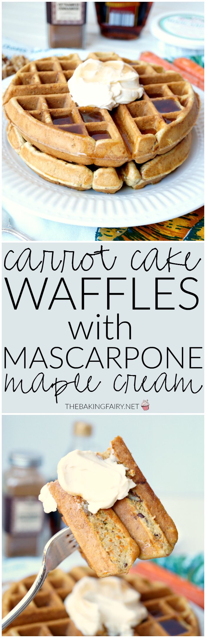 carrot cake waffles with mascarpone maple cream | The Baking Fairy