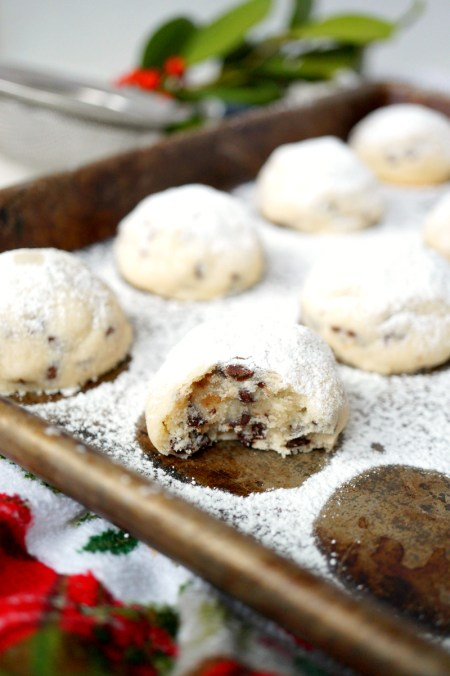 mini chocolate chip snowball cookies | The Baking Fairy