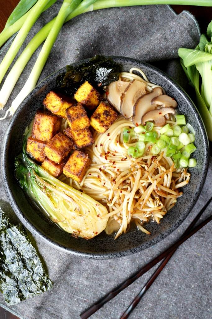 vegan crispy tofu ramen noodles