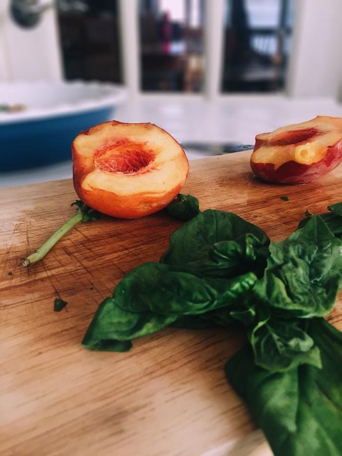 Peach Mozzarella Basil Galette
