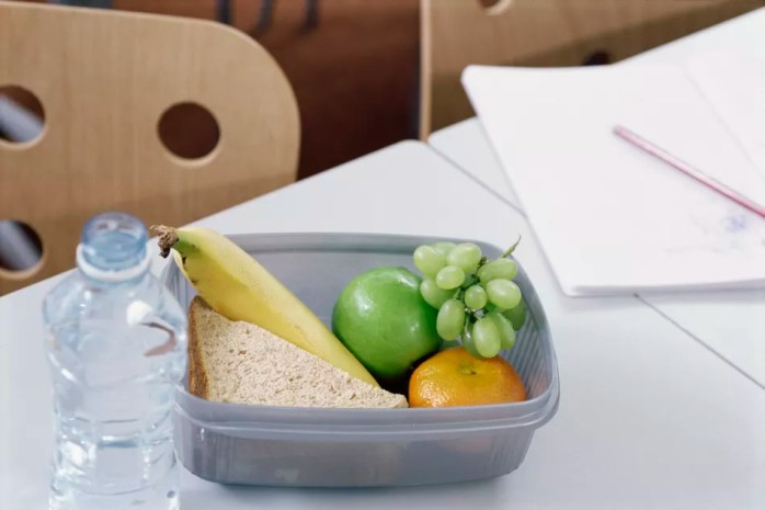 High angle view of a packed lunch on a desk.