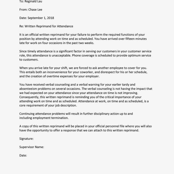 Written Reprimand Sample for Employee Attendance