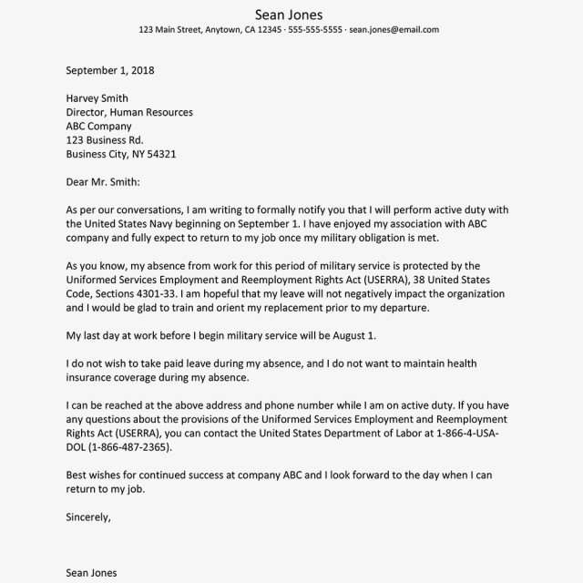 Sample Absence Letter for Military Leave