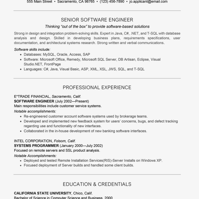 Cover Letter For Internship In Computer Science: Computer Software Engineer Resume