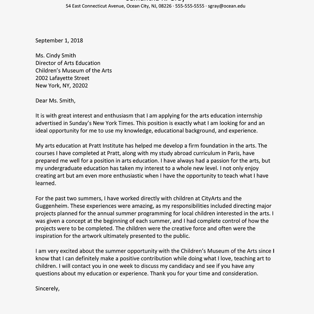 cover letter for an art internship