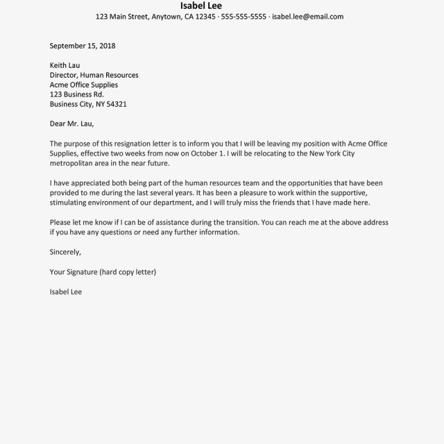 Resignation Letter Due To Relocation