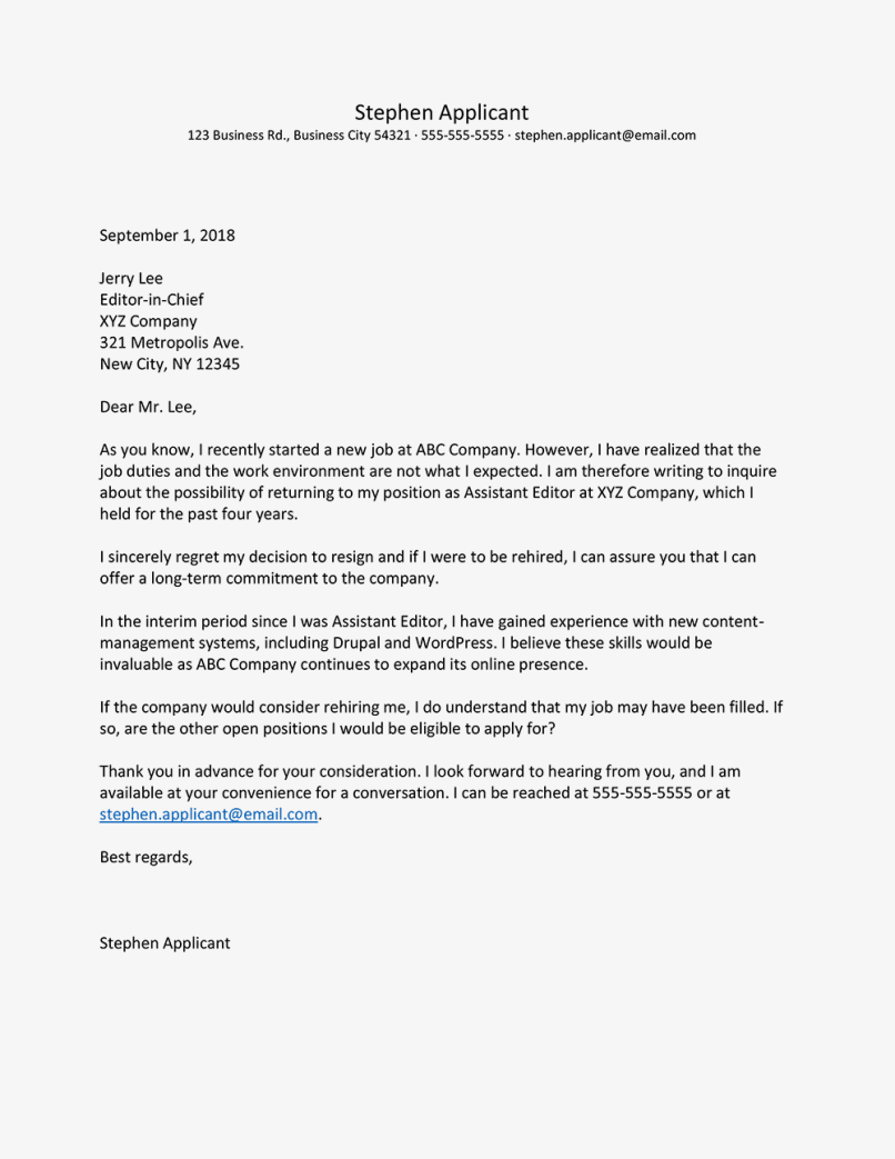 Sample Letter For Reconsideration Of Application