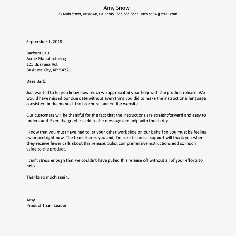 employee recognition letter for customer service