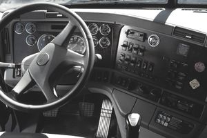 Dashboard Inside a Semi Truck: Gauges and Instruments