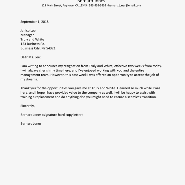 Resignation Notice Letters And Email