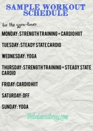 Sample Workout Schedule | The Balanced Berry