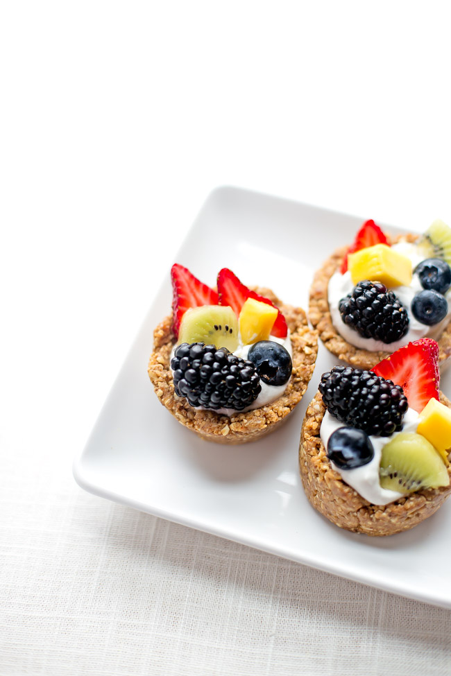 These no-bake fruit tarts make a lovely addition to your breakfast or brunch spread. They're vegan, gluten-free and are so easy to make, they're foolproof!