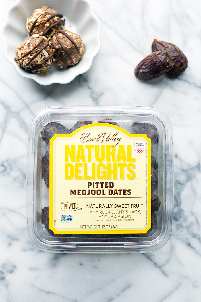 These energy bites are reminiscent of your favorite Girl Scout Cookie. They're packed with healthy ingredients like Natural Delights Medjool Dates, seeds, and toasted coconut.