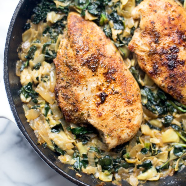 Kale, Spinach and Artichoke Chicken Skillet (Whole30)