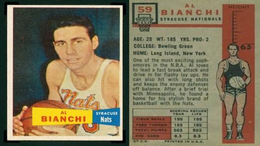 Ο Al Bianchi σε κάρτα Topps της σεζόν '58-'59, όταν αγωνιζόταν στους Syracuse Nationals (ή Nats)
