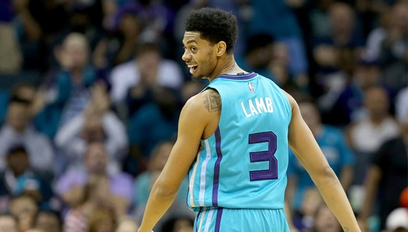 CHARLOTTE, NC - NOVEMBER 01: Jeremy Lamb #3 of the Charlotte Hornets during their game at Time Warner Cable Arena on November 1, 2015 in Charlotte, North Carolina. NOTE TO USER: User expressly acknowledges and agrees that, by downloading and or using this photograph, User is consenting to the terms and conditions of the Getty Images License Agreement. (Photo by Streeter Lecka/Getty Images)