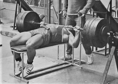 Franco Columbu bench pressing 475 lbs.