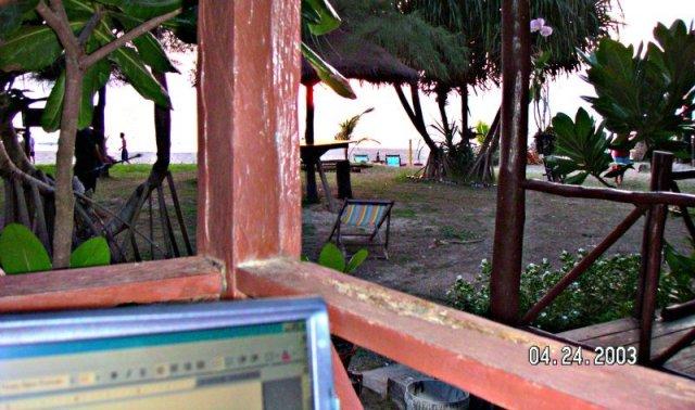 Laptop on the Deck in Ko Lanta Thailand