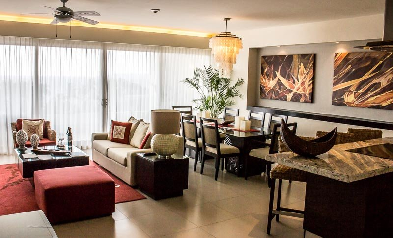 Living and dining area in my two bedroom suite at the Marival Residences Luxury Resort