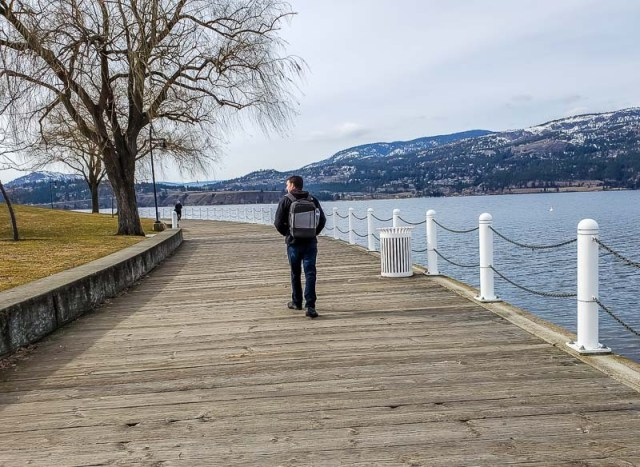 The wooden boardwalk in downtown Kelowna BC along Okanagan Lake