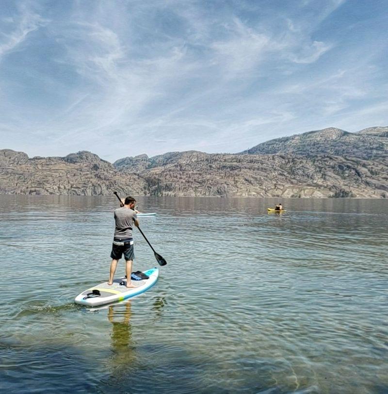 Paddle boarding on Kalamalka Lake