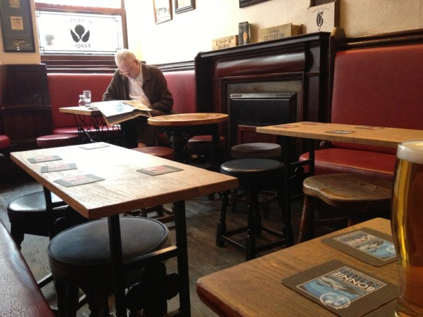 The back room of the Blue Blazer is perfect for a quiet pint and a read of the paper
