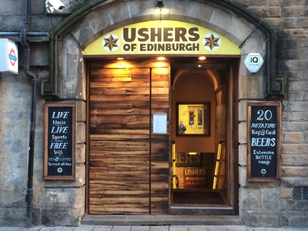 Usher's is a basement bar, so it's in and straight down the stairs. It has an attractive, eye-catching frontage though.