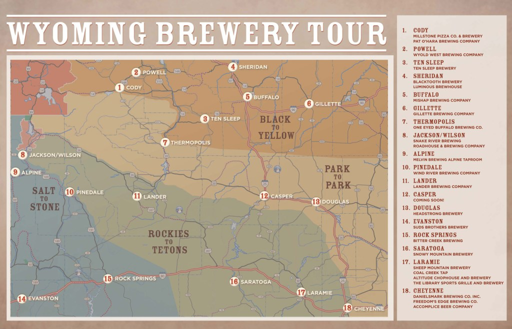 Wyoming Brewery Tour Map