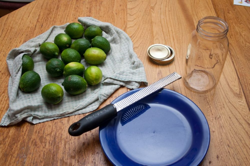 A photo of fifteen limes, a plate, and a microplane grater.