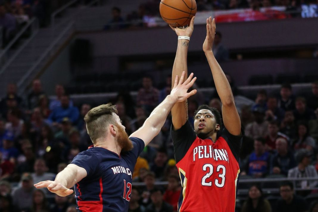 Anthony Davis enjoys a monster performance against the Pistons
