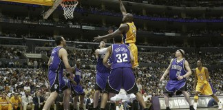 Mar. 24, 2004; Los Angeles, CA. US; Los Angeles Lakers center Shaquille O'Neal shoots in the lane during the Lakers 115-91 victory over the Sacramento Kings at the Staples Center. Mandatory Credit: Robert Beck/SI/Icon SMI