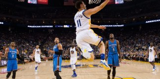 Klay Thompson scores two of his 21 in a Warriors' victory