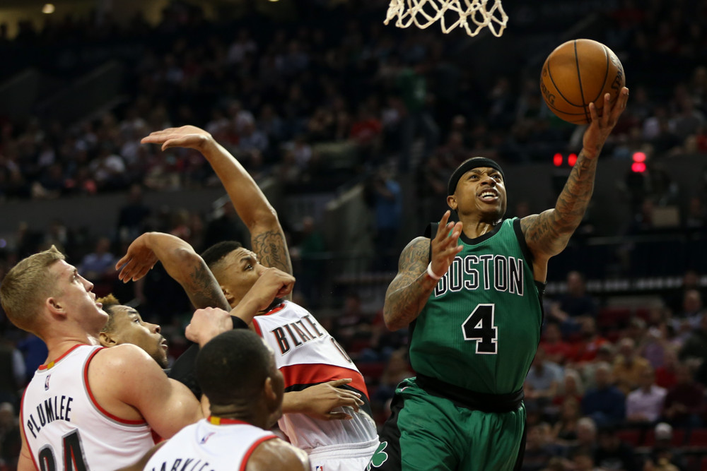March 31, 2016, Portland - Isaiah Thomas (4) drives to the hoop. The Portland Trail Blazers hosted the Boston Celtics at the Moda Center on March 31, 2016. (David Blair/Zuma Press/Icon Sportswire)