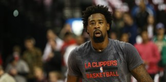 April 25, 2016 - DEANDRE JORDAN (6) warms up before the game. The Portland Trail Blazers hosted the Los Angeles Clippers at the Moda Center on April 25, 2016. (Photo by David Blair/Zuma Press/Icon Sportswire)