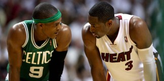June 9, 2012 - Miami, FL, USA - The Boston Celtics' Rajon Rondo (9) and Miami Heat's Dwyane Wade (3) have a few words after Rondo was called for a technical foul against Wade in Game 7 of the Eastern Conference Finals at American Airlines Arena in Miami, Florida, on Saturday, June 9, 2012. Miami won, 101-88, to advance to the NBA Finals. (ZumaPress/Icon SportsWire)
