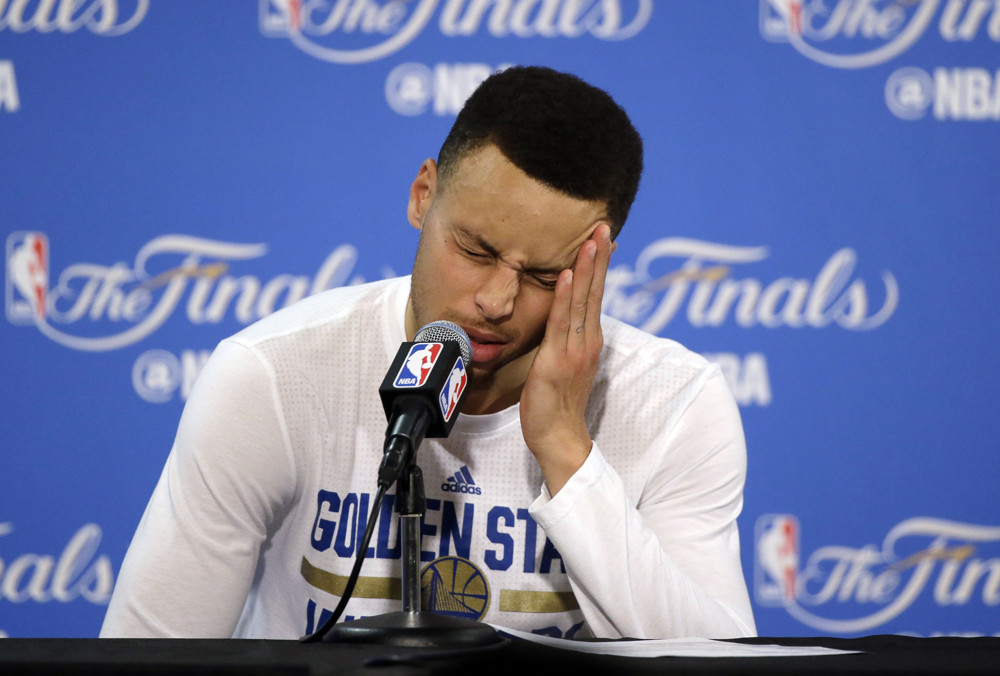 June 19, 2016 - Oakland, California, U.S - Golden State Warriors' Stephen Curry answers questions during a post-game press conference after Game 7 of the NBA Finals Sunday, June 19, 2016, in Oakland, Calif. Cleveland won 93-89. (Photo by Prensa Internacional/Zuma Press/Icon Sportswire)