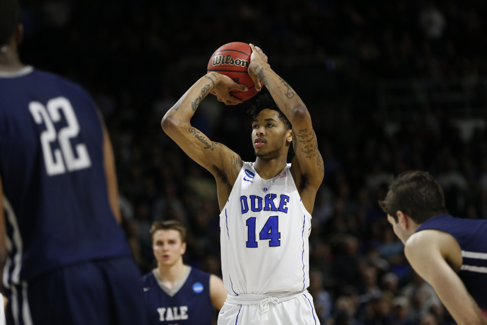 March 19, 2016: G/F Brandon Ingram (14) of the Duke Blue Devils with a free throw during the Duke Blue Devils game versus the Yale Bulldogs in the Second Round of the Division I Men's Basketball Championship at Dunkin Donuts Center in Providence, RI. (Photo by Fred Kfoury III/Icon Sportswire)