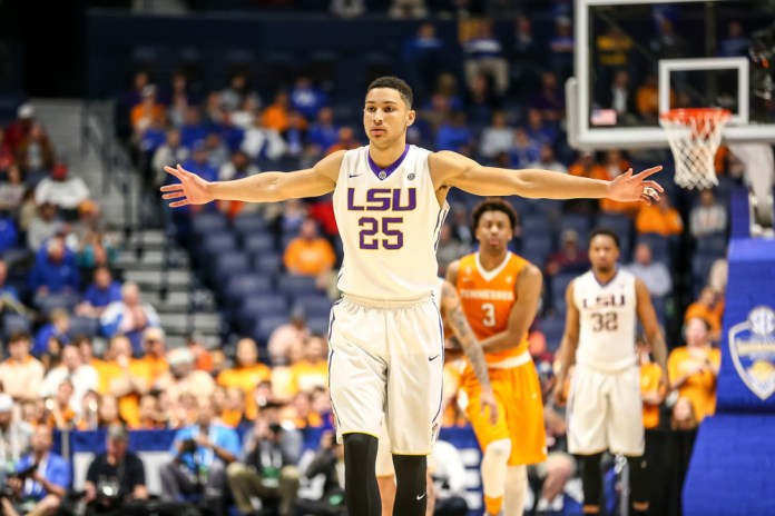 March 11, 2016: LSU Tigers forward Ben Simmons (25) during the SEC Championship Tournament game between LSU and Tennessee. LSU defeats Tennessee 84-75 at Bridgestone Arena in Nashville, TN. (Photos by Frank Mattia/Icon Sportswire)