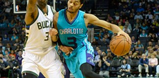 Nov. 29, 2015 - NC, USA - Milwaukee Bucks' O.J. Mayo guards Charlotte Hornets' Jeremy Lamb on Sunday, Nov. 29, 2015 at Time Warner Cable Arena in Charlotte, N.C. The Charlotte Hornets defeated the Milwaukee Bucks 87-82 (Photo by Robert Lahser/Zuma Press/Icon Sportswire)
