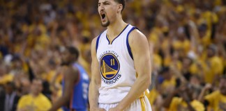 May 30, 2016 - Oakland, CA, USA - Golden State Warriors guard Klay Thompson (11) reacts after scoring a three-point basket against the Oklahoma City Thunder during the second quarter on Monday, May 30, 2016, at Oracle Arena in Oakland, Calif. (Jose Carlos Fajardo/Zuma Press/Icon Sportswire)