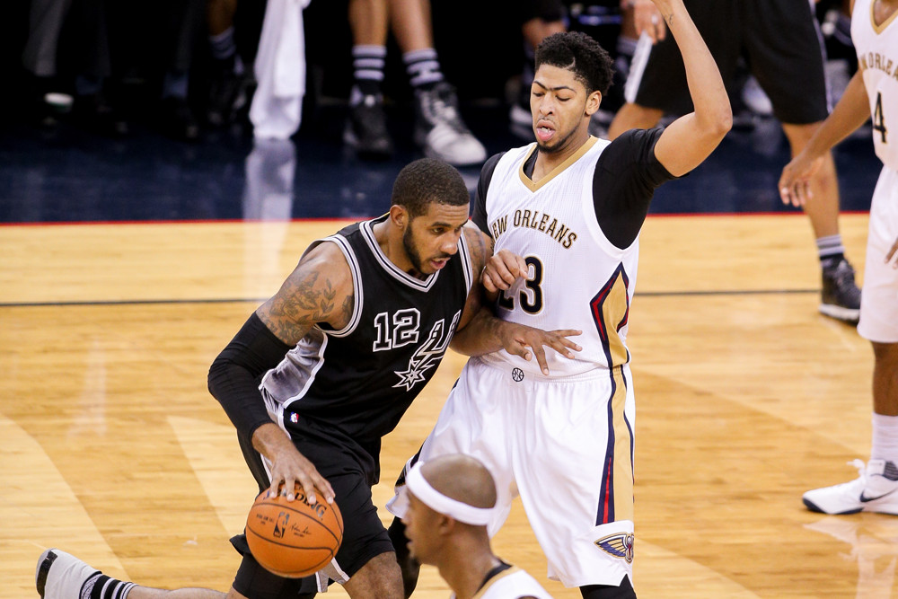November 20, 2015, New Orleans, LA, USA - San Antonio Spurs forward LaMarcus Aldridge (12) drives against New Orleans Pelicans forward Anthony Davis (23) during a game between the Spurs and Pelicans at Smoothie King Center in New Orleans, LA. (Stephen Lew/Icon Sportswire)