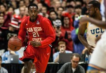 Dec. 1, 2012; Anaheim, CA, USA; San Diego State Aztecs guard Jamaal Franklin (21) dribbles against UCLA Bruins forward Shabazz Muhammad (15) during the NCAA Men's Basketball game between the San Diego State Aztecs and the UCLA Bruins at the John R. Wooden Classic at the Honda Center. Mandatory Credit: Wally Caddow/Icon Sportswire